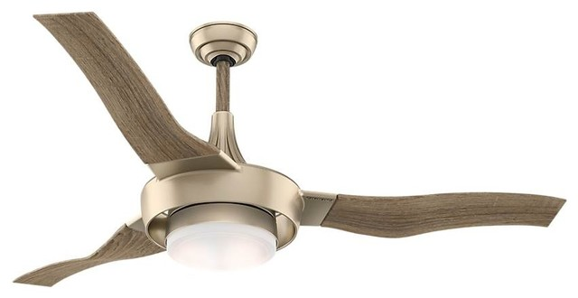 """Perseus Metallic Sunsand Ceiling Fan With Wall Control, 64""""."""