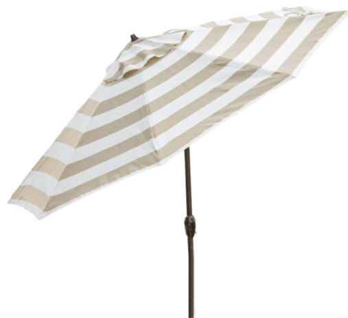 Beige And White Stripe 7.5u0027 Collar Tilt Patio Umbrella With Crank