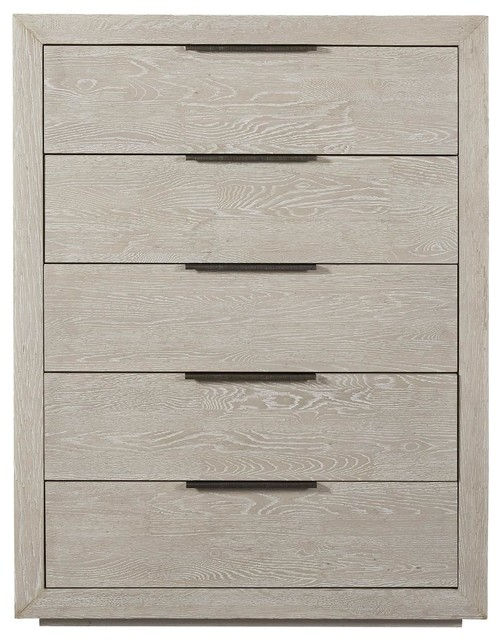 Modern Grey Oak Huston 5-Drawers Tall Chest.
