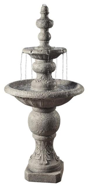 Icy Stone 2-Tier Waterfall Garden Fountain