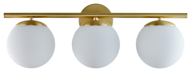 Aidan Triple Sconce, Brushed Brass with Matte Frosted Glass