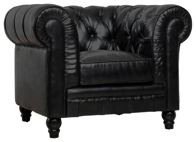 Zahara Leather Club Chair, Black