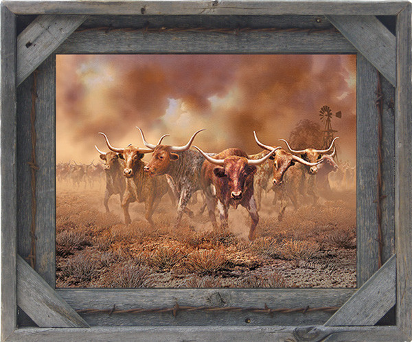 barb wire with cornerblock barn wood frame 11x14 rustic pict