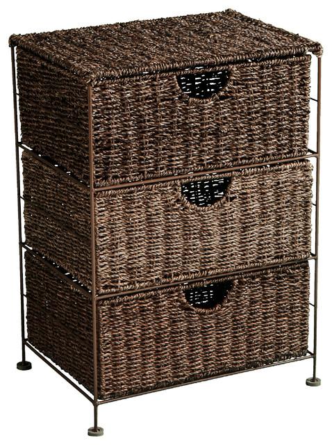 Shop Houzz | Southern Enterprises Kyndall Seagrass 3-Drawer Storage - Storage Cabinets