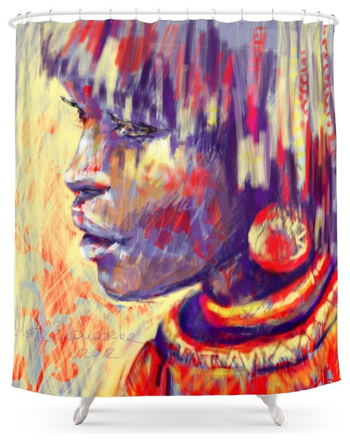 Society6 African Portrait Shower Curtain southwestern-shower-curtains - Society6 African Portrait Shower Curtain - Southwestern - Shower