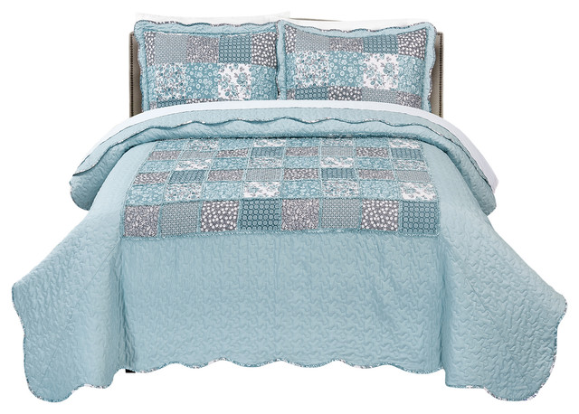 Mhf Home Giselle Floral Patchwork 3 Piece Quilt Set Farmhouse Quilts And Quilt Sets By Morgan Home Houzz