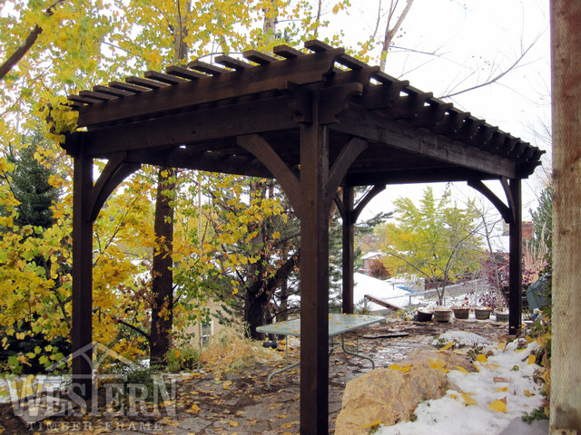western timber frame decks patios outdoor enclosures family size pergolas rustic patio