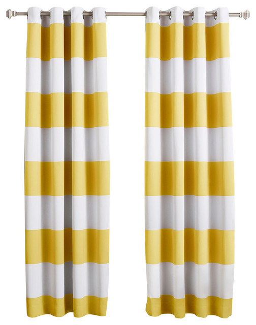 "Bold Stripe Print Grommet Top Curtain Pair 84"" L, Mustard."