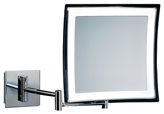 Dwba Wall Mounted Cosmetic Makeup 5x Led Light Magnifying Mirror Chrome