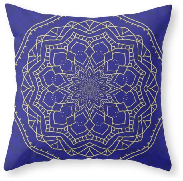 Society6 mandala blue and gold 1 throw pillow for Blue and gold pillows