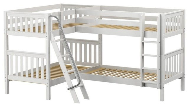 Calumet Sleeps 4 Twin Size Bunk Bed White Transitional Beds