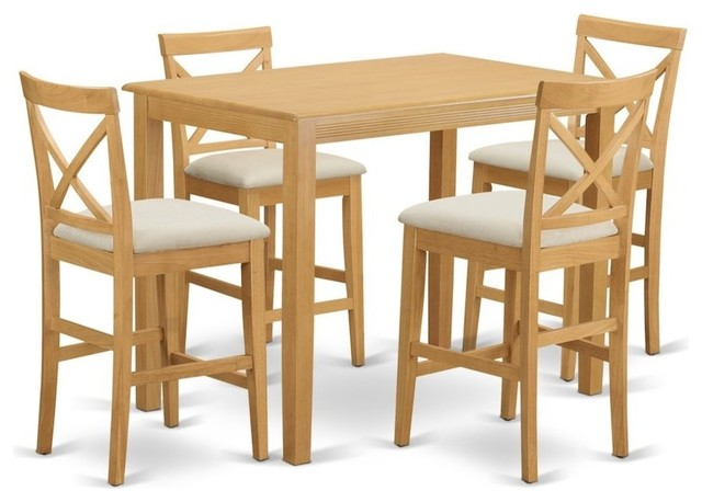 5-Piece Counter Height Dining Table Set Wood Dining Room Table and 4 Upholstered High-Back Chairs w//Footrest