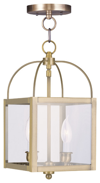 Milford 2-Light Pendants, Antique Brass.