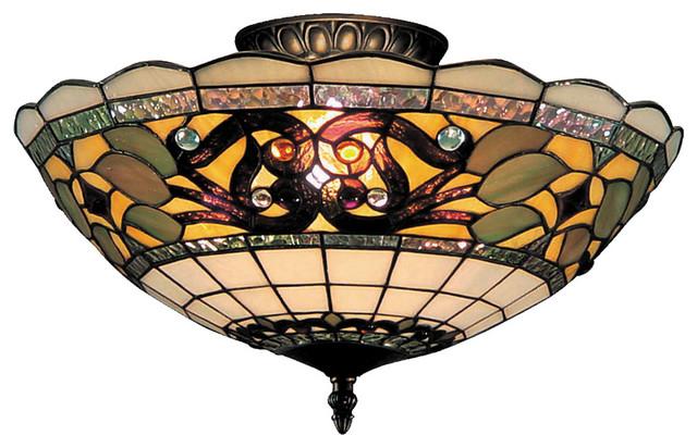 Elk Lighting 941-Tb Tiffany Buckingham 3-Light Semi Flush Light.