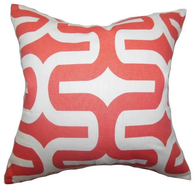 "Jaslene Geometric Pillow Pink 18""x18""."