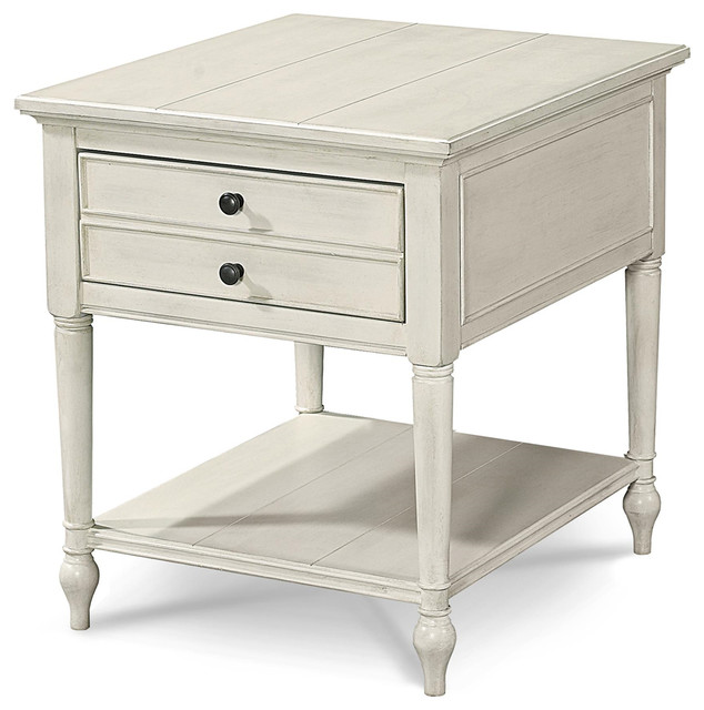 Cool Country Chic Maple Wood 1 Drawer End Table Cotton White Uwap Interior Chair Design Uwaporg