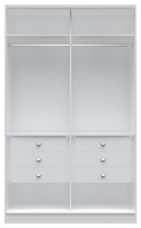 "Chelsea 1.0, 54.33"" Wide He/She Wardrobe With 6 Drawers, White"