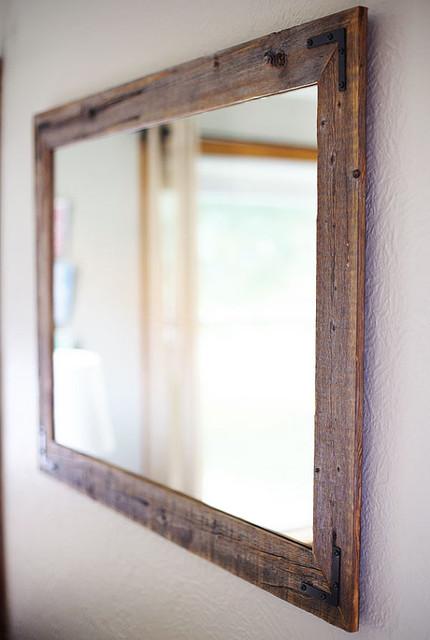 Reclaimed Wood Framed Mirror Rustic Bathroom Mirrors Dallas By Hurd