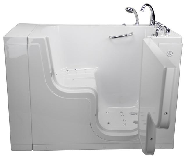 "Transfer Acrylic Wheelchair Accessible Air Massage Walk-In Tub 2"" Drain."