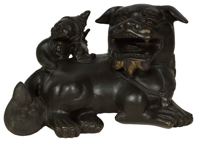 Consigned Vintage Asian Carved Brass Foo Dog Statue Asian Decorative Objects And Figurines By Golden Treasures Antiques And Collectibles Inc Houzz