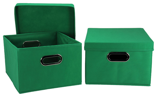 2pc lidded storage box set kelly green