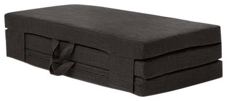Double Portable Foam Folding Mattress With Carry Handles, Black Linen