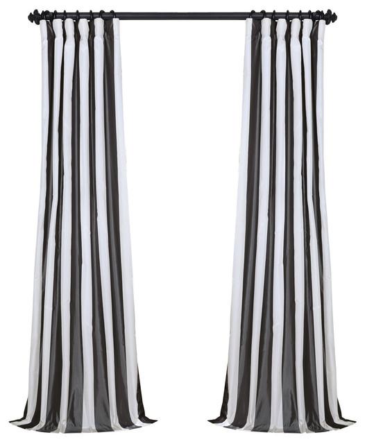 "Presidio Fauxsilk Taffeta Stripe Curtain Single Panel, 50""x84""."