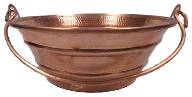 "Round Shiny Copper Bucket Vessel Bath Sink With Handle, 15""."