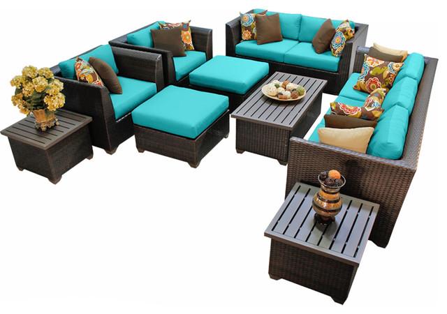 Bermuda D Outdoor Wicker Piece Patio Set Tropical Patio - Turquoise outdoor furniture