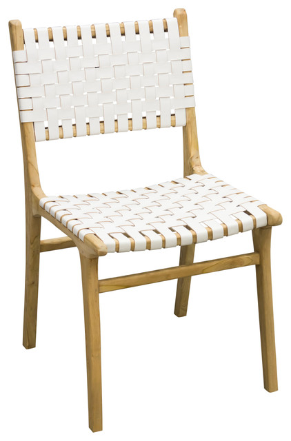 Stol Handwoven Leather Dining Chair, White
