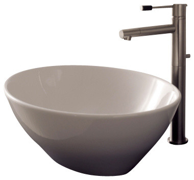 Oval Shaped White Ceramic Vessel Sink, No Hole
