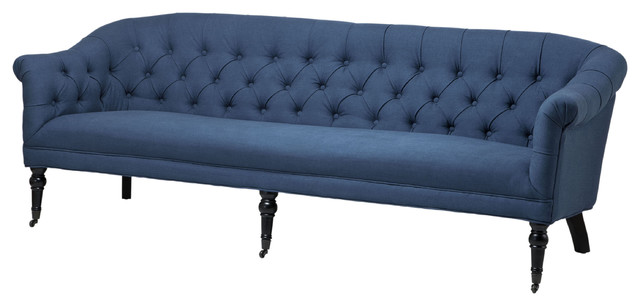 Eichholtz Bentley French Country Tufted Blue Linen Sofa