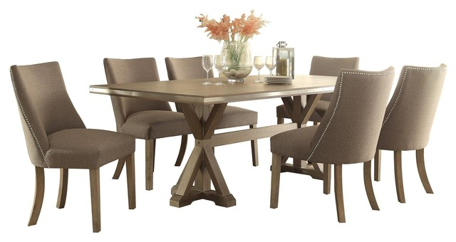 7 Piece Beams Industrial Dining Set Table And 6 Upholstered Chair, Brown