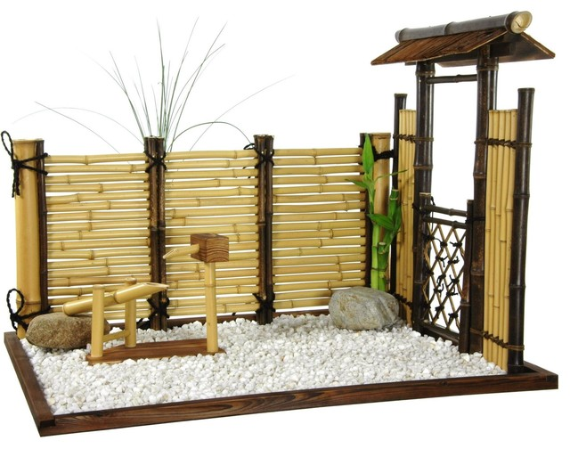 Zen Bamboo Mini Garden Traditional Home Decor