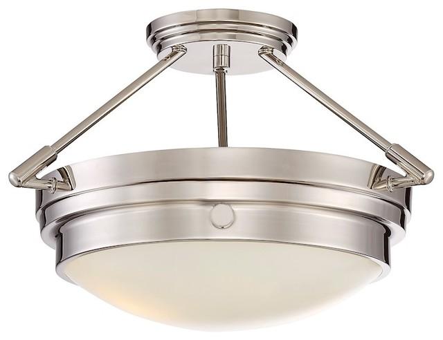 Savoy House Lucerne 2-Light Semi-Flush, Polished Nickel - 6-3352-2-109.