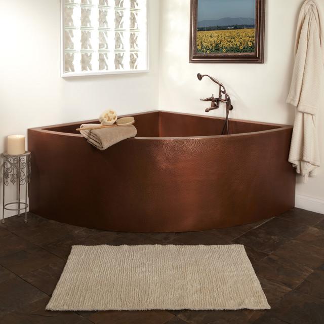 "85"" crosley double-wall copper corner soaking tub w/ seats"
