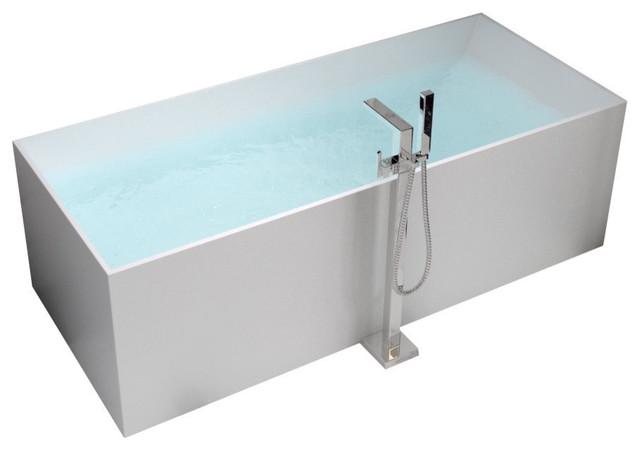 "ADM Rectangular Freestanding Bathtub, Matte White, 66.9"""