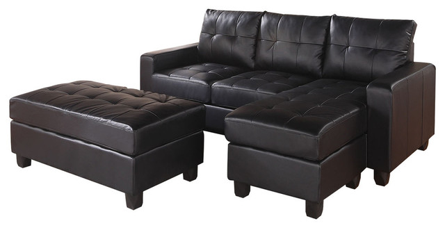 Lyssa Sectional Sofa, Reversible Chaise And Ottoman, Black.