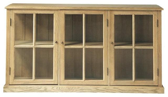 Credenza Con Cantinetta : Credenza con vetrine in massello di quercia l cm atelier