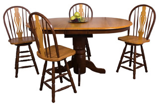 Sunset Trading 5-Piece Butterfly Leaf Pub Table Set With Keyhole Barstools