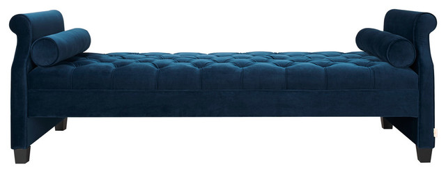Eliza sofa bed blue transitional indoor chaise lounge for Blue chaise lounge indoor