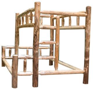 Northern Rustic Pine Log Bunk Bed, Twin/Full
