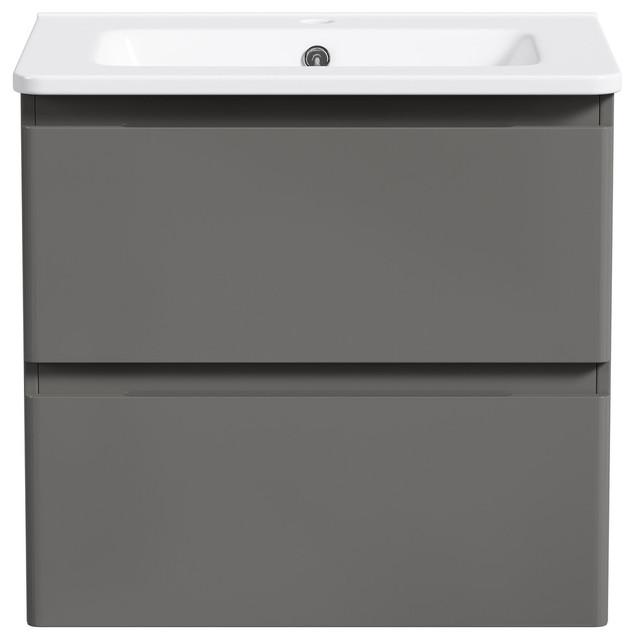 Lexis Gray Floating Bathroom Vanity Modern Bathroom Vanities And - Grey floating bathroom vanity