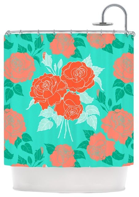 Anneline Sophia Summer Rose Orange Teal Green Shower Curtain Co