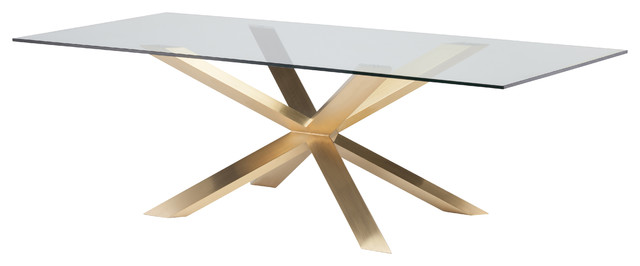 Couture Dining Table, Stainless Steel and Glass, Gold, 94 by Nuevo