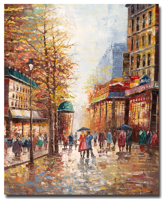French Street Scene Canvas Art By Joval Traditional
