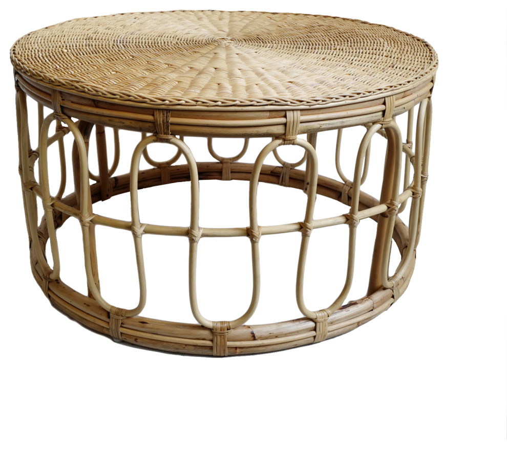 - Round Rattan Coffee Table - Tropical - Coffee Tables - By Design