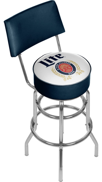 Miller Lite Swivel Bar Stool With Back, Retro.