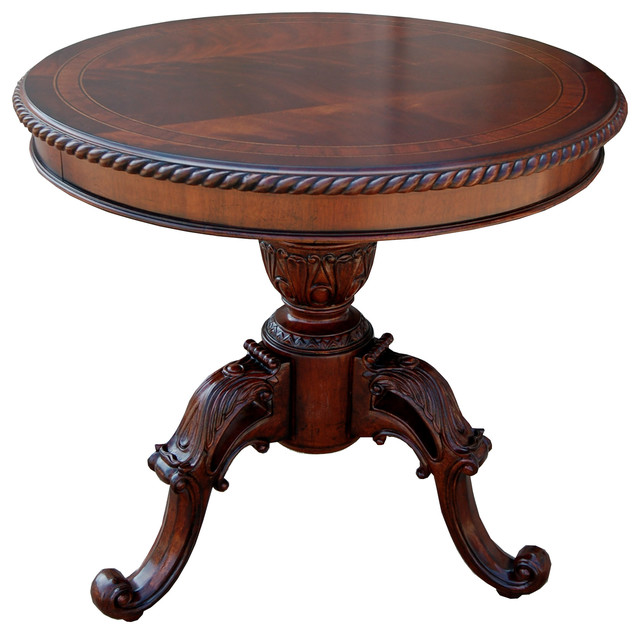 Fine heritage mahogany round accent entry way table view in your room houzz Traditional coffee tables and end tables