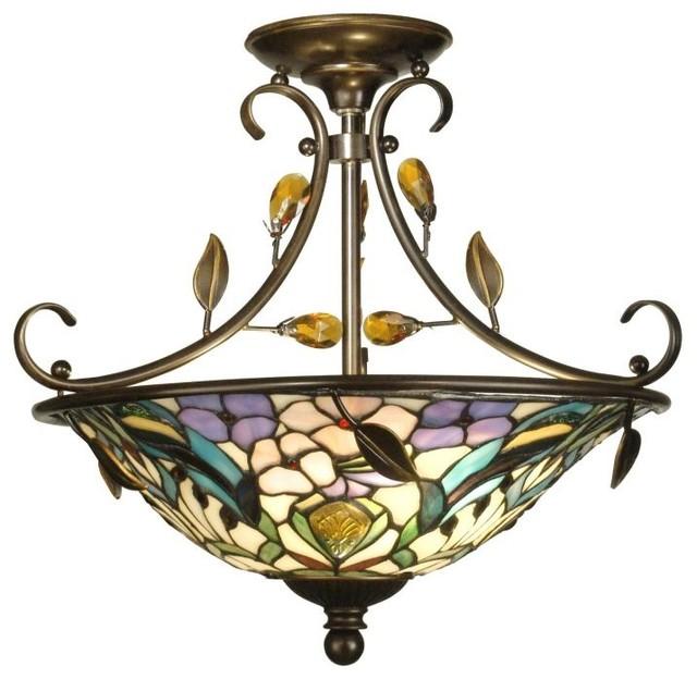 Dale Tiffany 2 Light Peony Crystal Semi Flush Mount In Golden Antique.